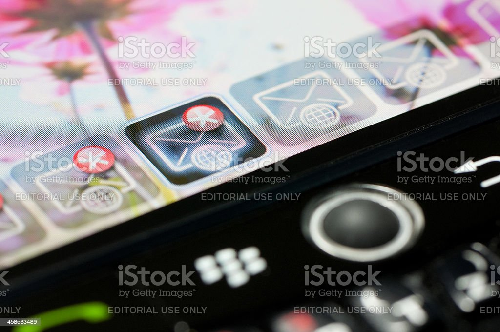 Blackberry close-up email icon stock photo
