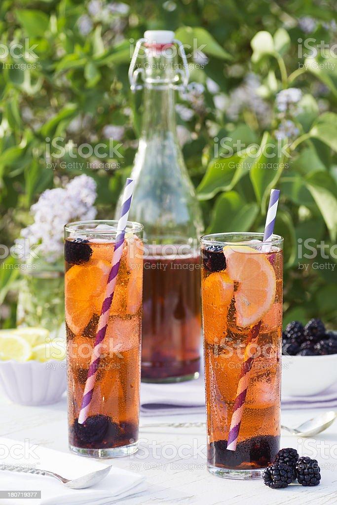 Blackberry Iced Tea in the Garden royalty-free stock photo