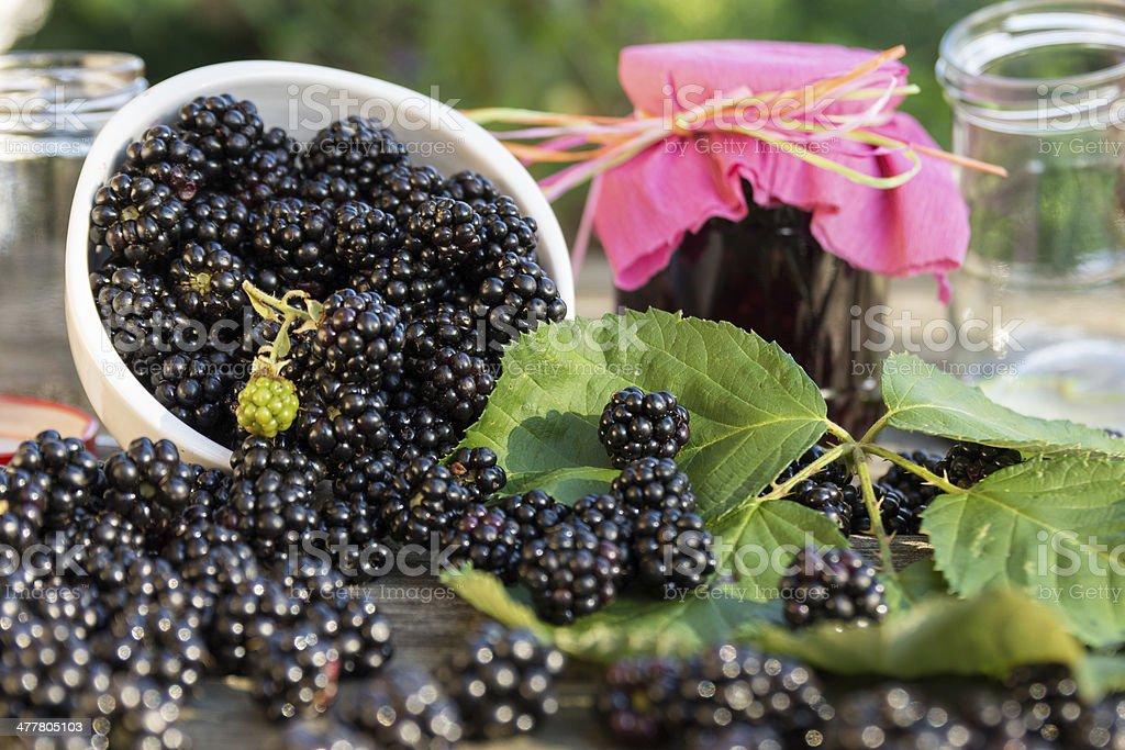 Blackberry jam stock photo