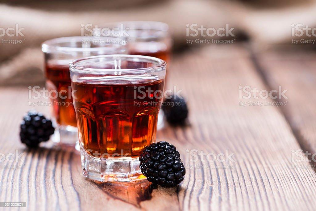 Blackberry Liqueur shot stock photo