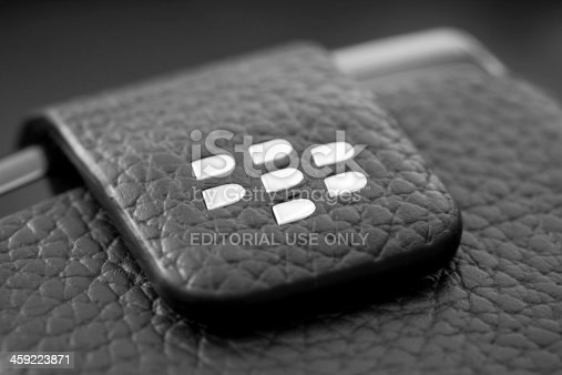Mexico City, Mexico - October 23, 2011: Close up of Blackberry logo on a leather case