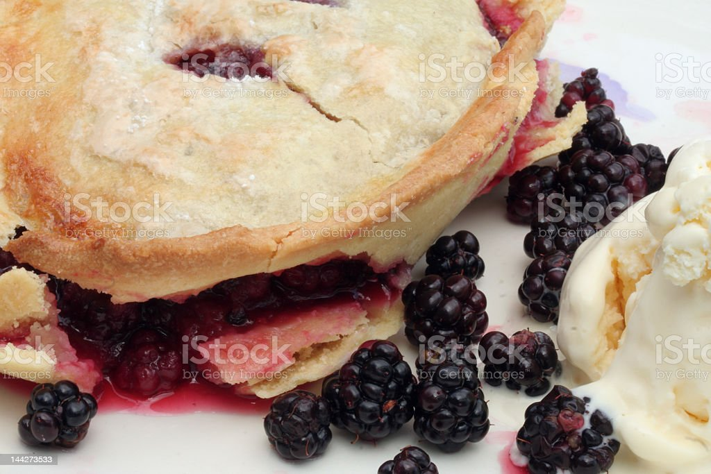 Blackberry pie with ice cream stock photo