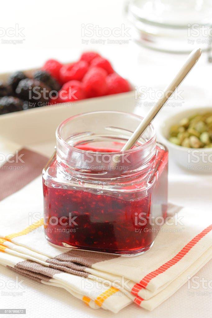 Blackberry raspberry jam stock photo