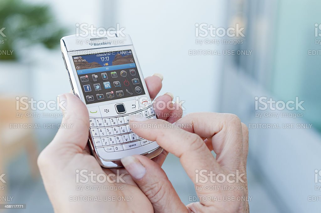 BlackBerry Smartphone With Social Networking Apps royalty-free stock photo