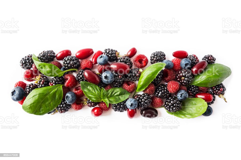Black-blue and red berries isolated on white. Ripe blackberries, blueberries, raspberries, cornels and basil leaves on white background. Berries with copy space for text. Top view. stock photo