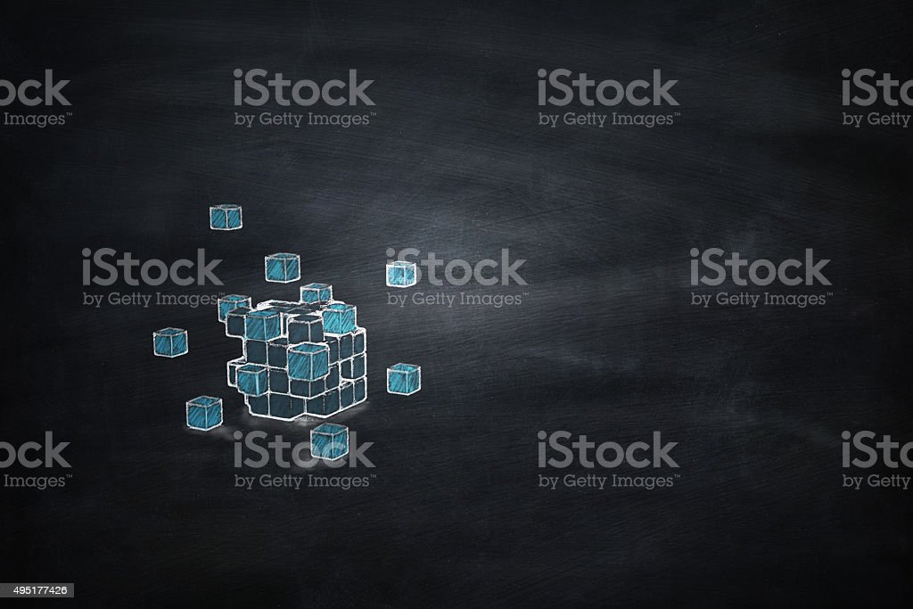 Blackboard 3D blocks cube stock photo
