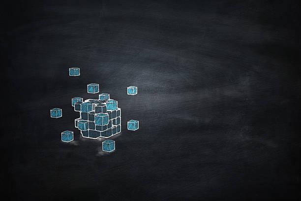 Blackboard 3D blocks cube stock photo