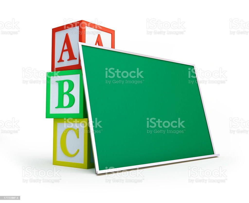 blackboard alphabet blocks royalty-free stock photo