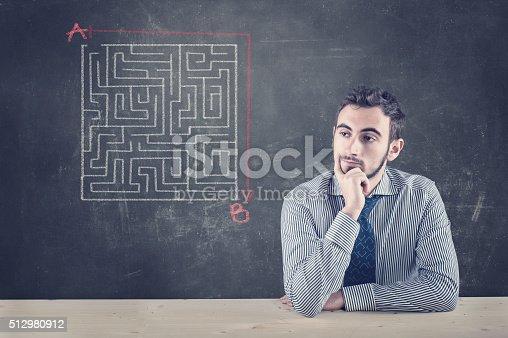 istock Blackboard and a maze 512980912