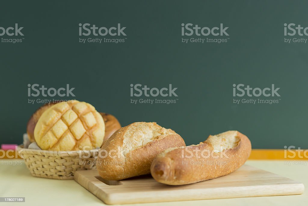 Blackboard and bread royalty-free stock photo