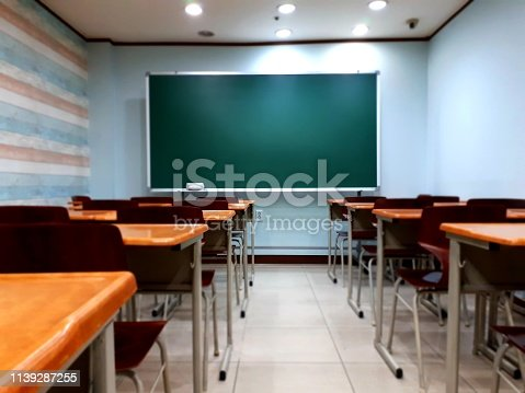 881192038istockphoto blackboard and desk chair in the classroom where students study 1139287255
