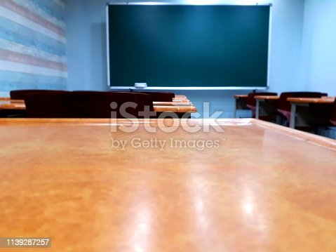 881192038istockphoto blackboard and desk chair in the classroom where students study 1139287257