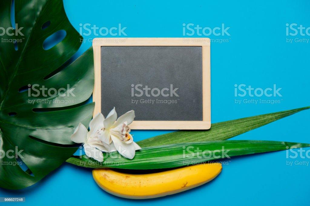 Blackboard und Palm Leaf mit Banane - Lizenzfrei Ast - Pflanzenbestandteil Stock-Foto
