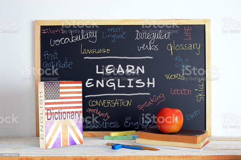 Tableau et Contenu anglais à l'école dans un cours de - Photo