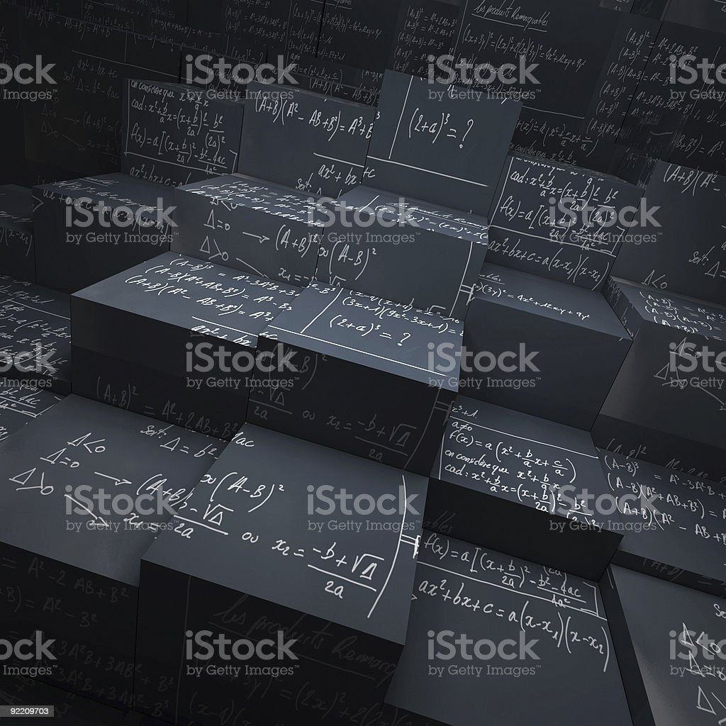 Blackboard blocks with maths formulae stock photo