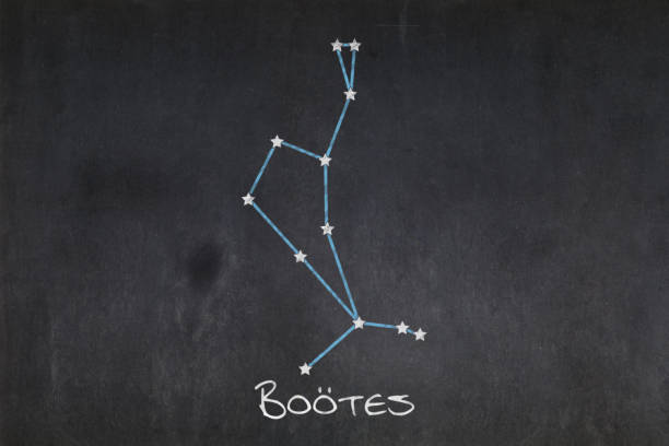 Blackboard - Boötes constellation Blackboard with the Boötes constellation drawn in the middle. bootes stock pictures, royalty-free photos & images