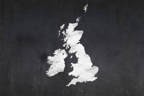 Blackboard - British Isles Blackboard with a the map of the British Isles drawn in the middle. uk map stock pictures, royalty-free photos & images