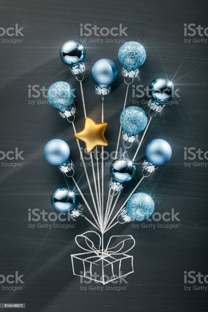 Blackboard Christmas Decoration - Bauble Balloons and Present stock photo
