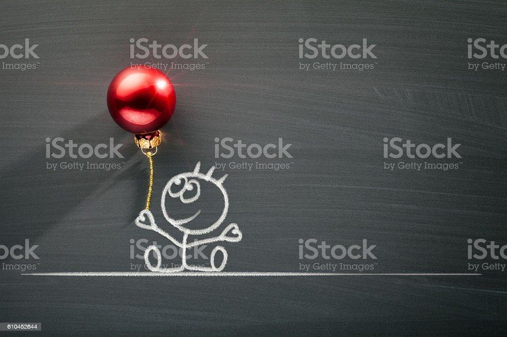 Blackboard Christmas Decoration - Boy with Balloon - Photo