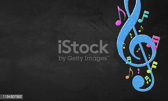 istock Blackboard Color Musical Notes 1134307302
