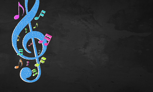 istock Blackboard Color Musical Notes 1134307322