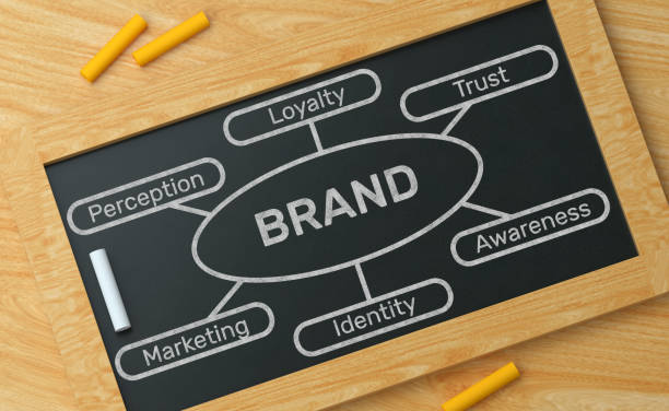 brand blackboard concept - inserzione pubblicitaria foto e immagini stock