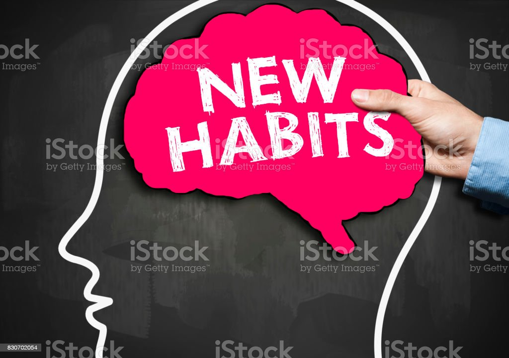 NEW HABITS / Blackboard concept (Click for more) stock photo