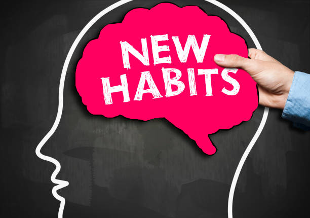 NEW HABITS / Blackboard concept (Click for more) NEW HABITS / Blackboard concept (Click for more) dependency stock pictures, royalty-free photos & images