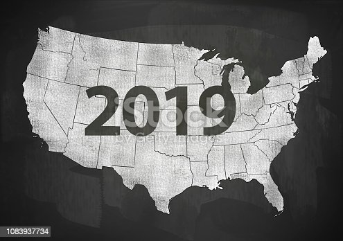 1063751940 istock photo 2019 USA / Blackboard concept with US map (Click for more) 1083937734