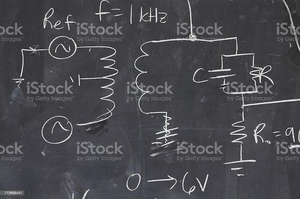 Blackboard electrical diagram detail stock photo