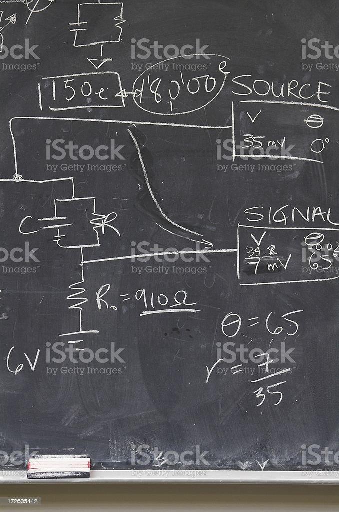 Blackboard electrical diagram stock photo