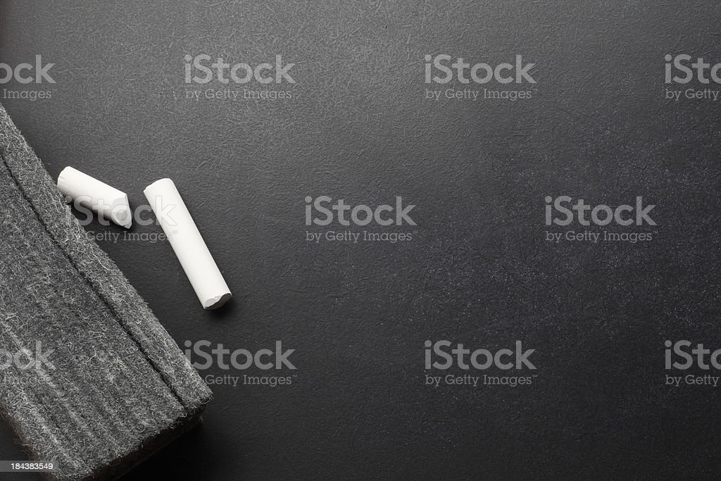 Blackboard & Eraser & Chalk stock photo