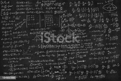 Blackboard full of equations (quantum, relativty....)