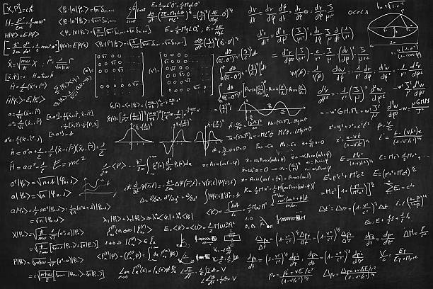 Blackboard full of equations stock photo