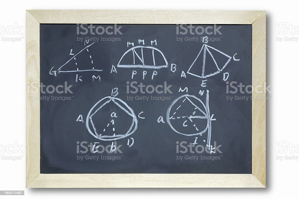 Blackboard Geometry Shape Design formula royalty-free stock photo