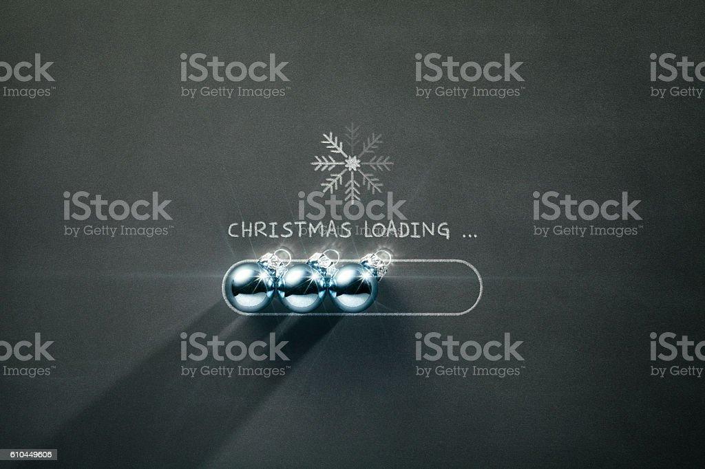 Blackboard Holiday Decoration - Christmas loading Blue Baubles - Photo