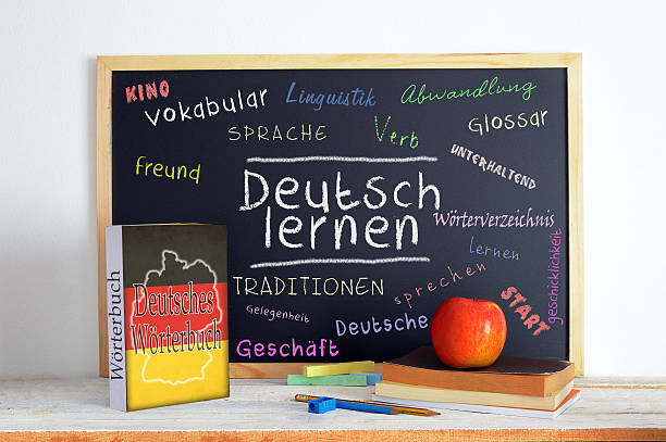Blackboard in a German classroom stock photo