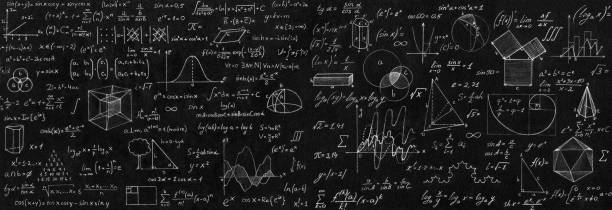 Blackboard inscribed with scientific formulas and calculations in physics and mathematics. Science and education background. Blackboard inscribed with scientific formulas and calculations in physics and mathematics. Science and education background. mathematical symbol stock pictures, royalty-free photos & images