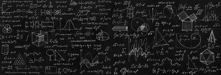 Blackboard Inscribed With Scientific Formulas And Calculations In Physics And Mathematics Science And Education Background Stock Photo - Download Image Now