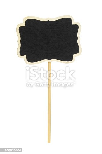 997496254 istock photo Blackboard label, chalkboard label, garden mark or price tag isolated 1186048383