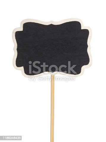 997496254 istock photo Blackboard label, chalkboard label, garden mark or price tag isolated 1186048435