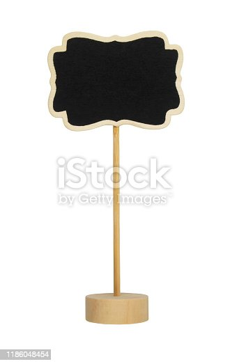 997496254 istock photo Blackboard label, chalkboard label, garden mark or price tag isolated 1186048454