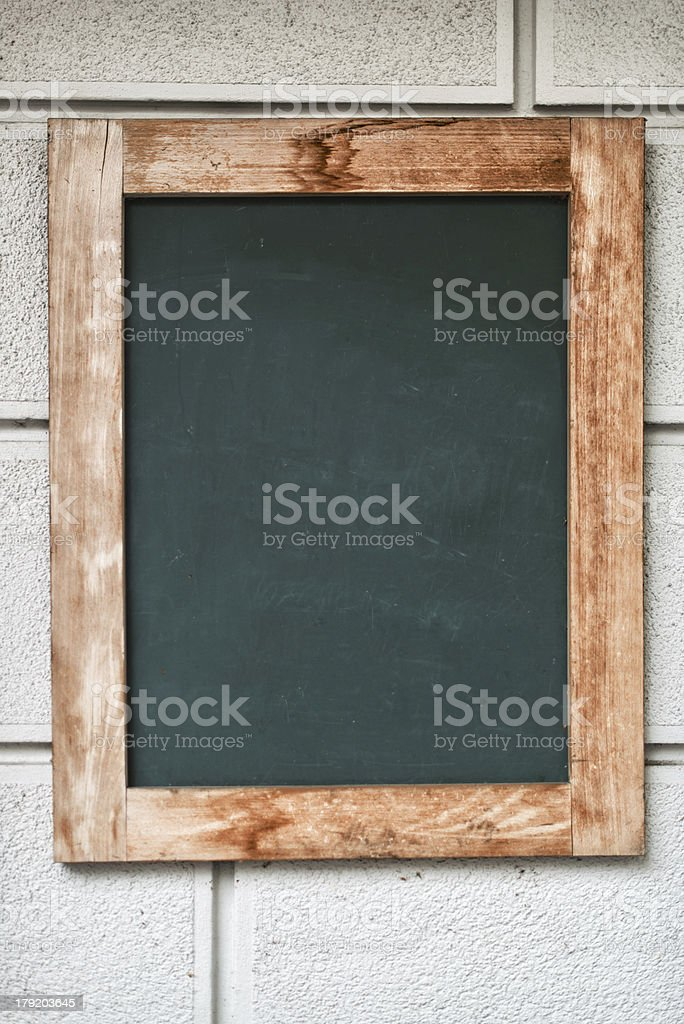 blackboard message sing on wall in front of shop stock photo