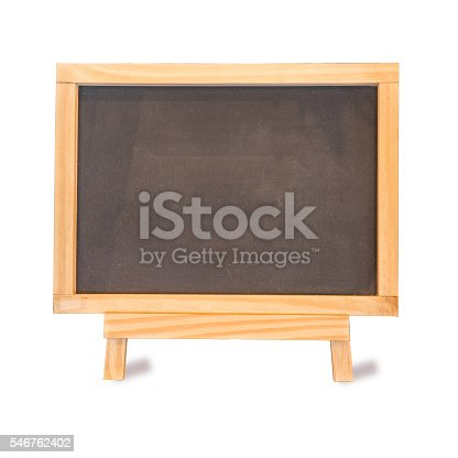 istock Blackboard on Easel Front View is blank for background 546762402
