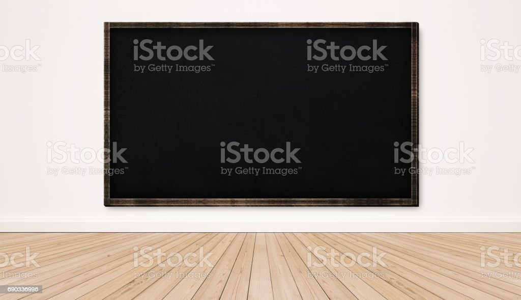 Blackboard on white wall with wood floor, empty classroom royalty-free stock photo