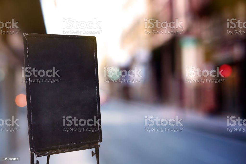 Blackboard or signboard in the front store, street view stock photo