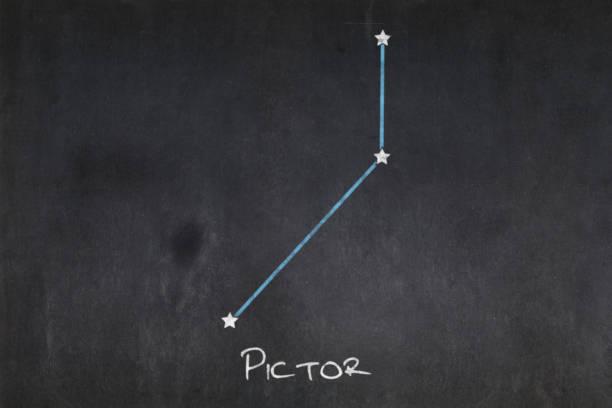 Blackboard - Pictor constellation stock photo