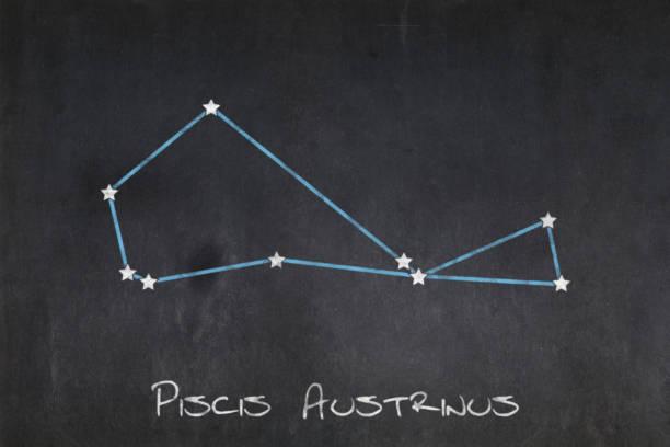 Blackboard - Piscis Austrinus constellation stock photo