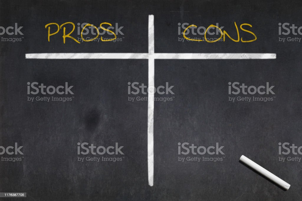 Blackboard - Pros vs Cons Blackboard with the a table divides between Pros and Cons drawn in the middle. Analyzing Stock Photo
