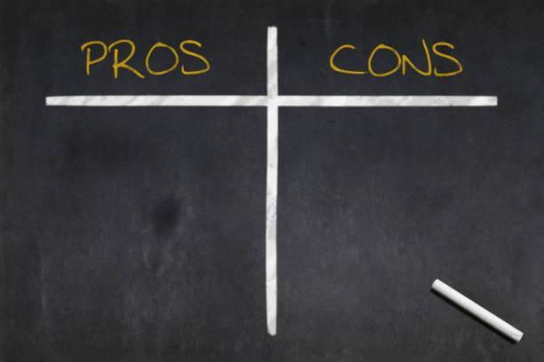 Blackboard - Pros vs Cons stock photo